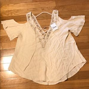 ASTR Cream Cold Shoulder Blouse